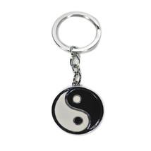 "YIN YANG KEYCHAIN Metal Enamel Key Chain Ring 3.5"" Martial Arts Tai Chi ... - $6.95"
