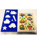 Vintage Sanrio Blue Stencil Artbloom Sticker Sheet 1988 Car Plane Train ... - $10.95