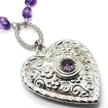Collier Argent 925, Fluorite à Facettes Violet, Cœur avec Fleurs, 70 CM image 2