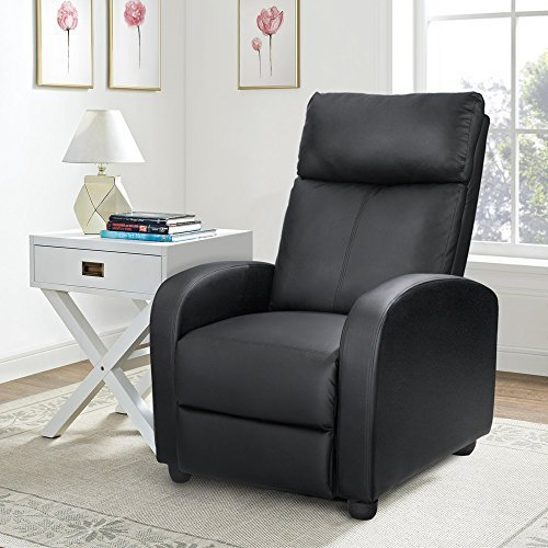 Homall Single Recliner Chair Padded Seat Black PU Leather Living Room Sofa Recli