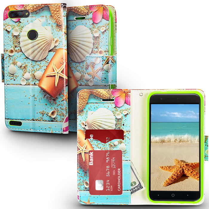 ZTE Sequoia Z982 / Blade Z Max Beach Shell Flip Flap Pouch Magnetic Wallet Case