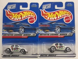 Lot of 2 - Hot Wheels Artistic License Series VW BUG White C - $7.99