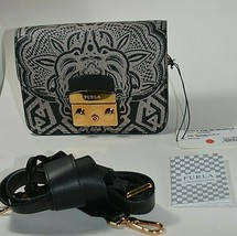 NWT FURLA Black/Beige Tan Tribal Graffiti Leather Mini Metropolis Cross ... - $350.00