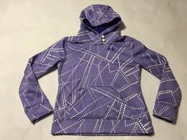 Under Armour Girls L YLG Purple White Dot Button Neck Hoodie Sweatshirt ... - $19.99