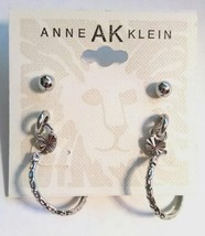 NWT $18 ANNE KLEIN Silver 3 Piece Set Studded Hoop Designer Earrings - $13.99