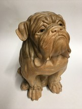 Vintage Wood Carved Bull Dog Figure Statue Cracked 10.25x6.5 Sad Puppy F... - $51.43