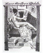 NUDE EX LIBRIS Woman in Lounge Chair Admires Art  - 1922 Lichtdruck Print - $16.20