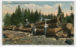 Lumber Logging El Dorado County California 1910c postcard - $6.93