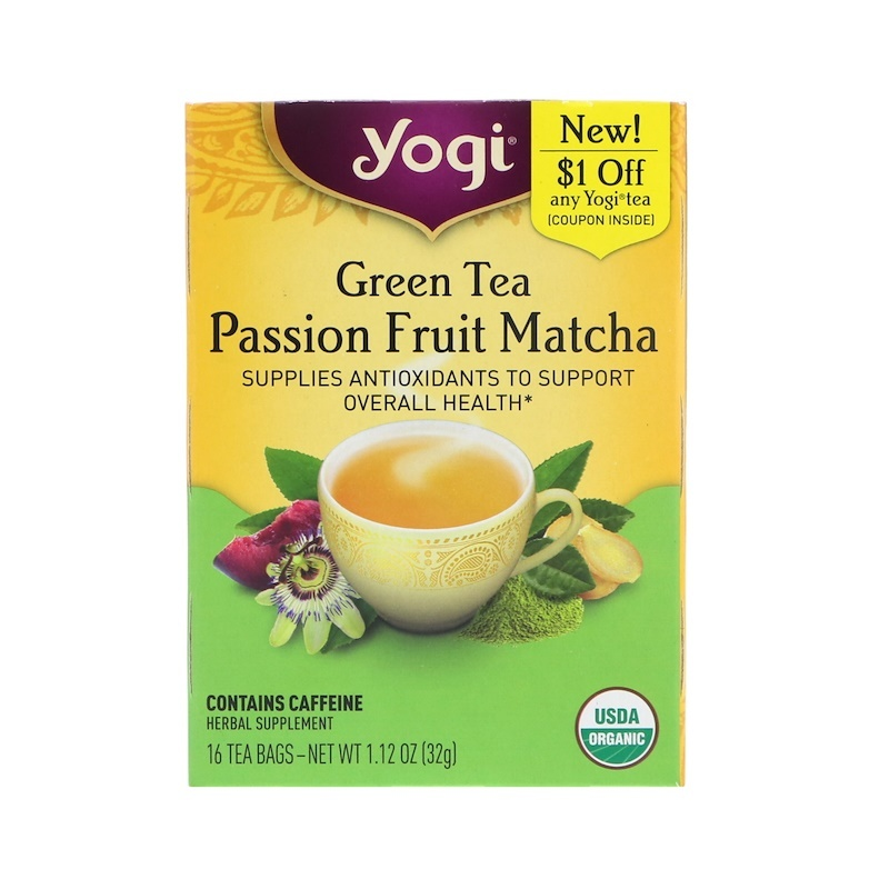 Yogi Tea, Green Tea, Passion Fruit Matcha, 16 Tea Bags, 1.12 oz (32 g)