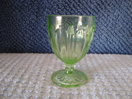 Green Vaseline glass footed cordial glass. - $10.00