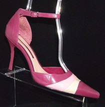 Enzo Angiolini 'Aggie' purple pointed toe leather d'orsay ankle strap he... - $13.36