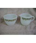 PYREX SPRING BLOSSOM GREEN PYREX CREAMER & SUGAR BOWL HEAVY MILK GLASS  VGUC - $18.69