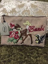 Disney Character Bambi Fold Embroidery Flat Pouch Accessory Case - $44.55