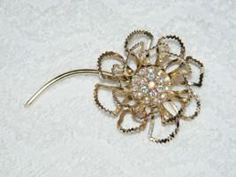 Vintage Sarah Coventry Signed Goldtone Rhinestone Floral Designed Pin Brooch Euc - $34.99