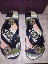 Nib Tory Burch Printed Carved Wedge FLIP-FLOP In Tory Navy Constellation Size 10 - $64.15