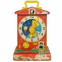 Fisher Price 1960s Pull Toy vtg antique Music Box Teaching Clock 1962 sc... - $38.65
