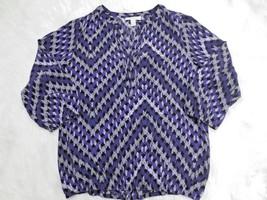 7cd946510ac88a Dana Buchman Womens Shirt Small Blue Black Blouse Textured 3/4 Sleeve Y  Neck -