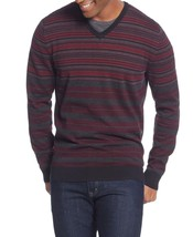Alfani Men's Red Black Gray V-Neck Striped Pullover Knit Sweater New $69 - $27.99