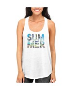 Summer Beach Funny Graphic Design Printed Women's White Tank Top - $14.99