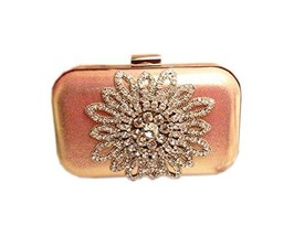 Cute Pink Clutch Bag for Prom Sunflower Rhinestone Wedding Clutch