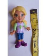 "3"" 2014 Mattel Girl Doll Blonde Molded Hair Pig Tails toy doll cake topp... - $7.66"
