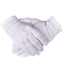 12 Pairs Breathable Soft White Cotton Gloves, Stretchable Coins Stamps J... - $13.85
