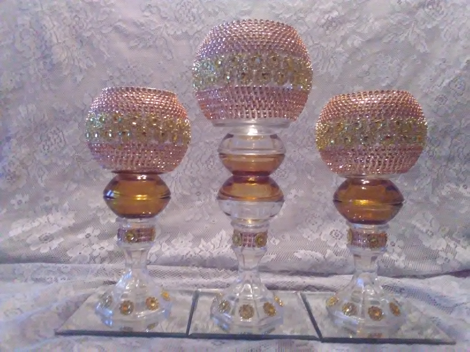 Primary image for 3pc. Autumn & Gold  Candleholder set