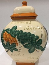 Nonni's Canister Hand Made Cookie Jar Cream Biscotti Embossed Design - $49.49