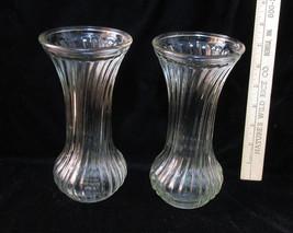 Set 2 Clear Glass Vases Flower Floral 7.5 Ribbed Textured Hoosier # 3 & ... - $14.84