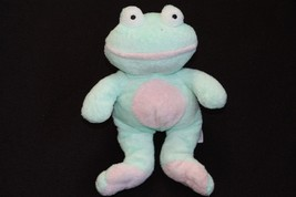 2002 Ty Pluffies Plush GRINS FROG Green Pink Beanie Baby Stuffed Animal Toy - $15.99