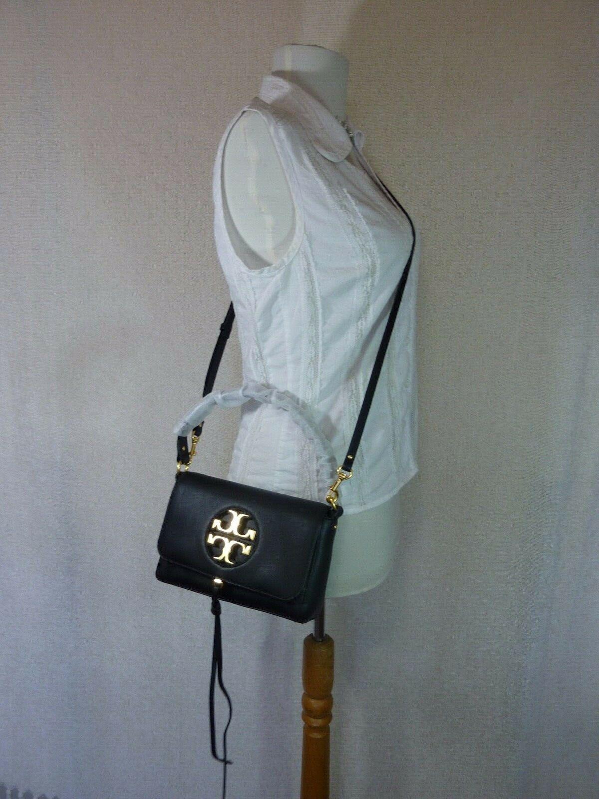 NWT Tory Burch Black Leather Miller Metal Cross-Body Bag/Mini Shoulder Bag $398 image 2