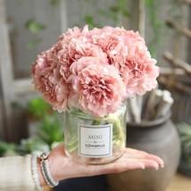 Zinmol Hot Selling 5pcs/bunch Artificial Peony Silk Flower Leaf Bouquet ... - $5.40