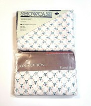 Vintage 100% Cotton Flannel Twin Sheet Set Flat & Fitted Diamond Floral ... - $37.79