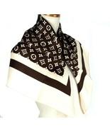 Auth Louis Vuitton Monogram Chocolate & Beige 100% Silk Scarf 30/76 cm F... - $296.01