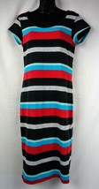 PLANET GOLD Pencil Dress Stripes Grey/Red/Blue Size Large - $11.07