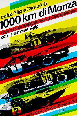 Primary image for 1972 Monza 1000 Km Race - Promotional Advertising Poster