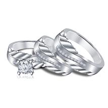 14K White Gold Finish 925 Sterling Pure Silver Diamond Mens Womens Ring Trio Set - $154.99