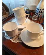 Mikasa Antique White Fine China Cups and Saucers, 4, Pre-Owned - $20.00