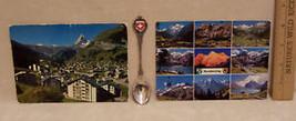 Vintage Switzerland Souvenir Lot 2 Postcards & 1 Spoon - $9.49