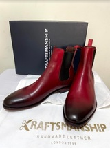 Handmade Men's Burgundy Burnished Toe High Ankle Chelsea Leather Boot image 1