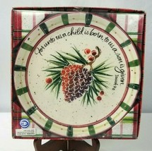 Julie Ueland Enesco Vintage Christmas Decorative Plate Pine Cone Isaiah 9:6 - $29.69