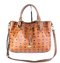 Auth MCM Cognac Visetos Canvas, Brown Leather 3 way Drawstring Shoulder ... - $246.51