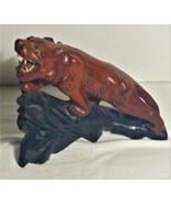Vintage Wood Bobcat on Log Figurine with Glass Eyes - $14.00