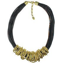 Gold chunky spiral wrap black leather cord choker necklace fashion jewel... - $16.99