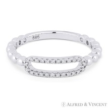 0.13ct Round Cut Diamond 14k White Gold Open-Oval & Beaded Band Right-Ha... - $495.99