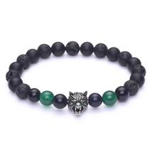 "Wolf Head Charm Energy Stone Stretch Bracelet with Black Natural Onyx, Lava, 7"" - $41.08"