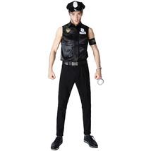 Halloween Sexy Men's Cop Officer Policeman Costume Cosplay Shirt - $31.09