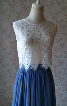 Women Sleeveless White Lace Crop Top Wedding Lace Bridesmaid Crop Tops(US0-US28) image 1