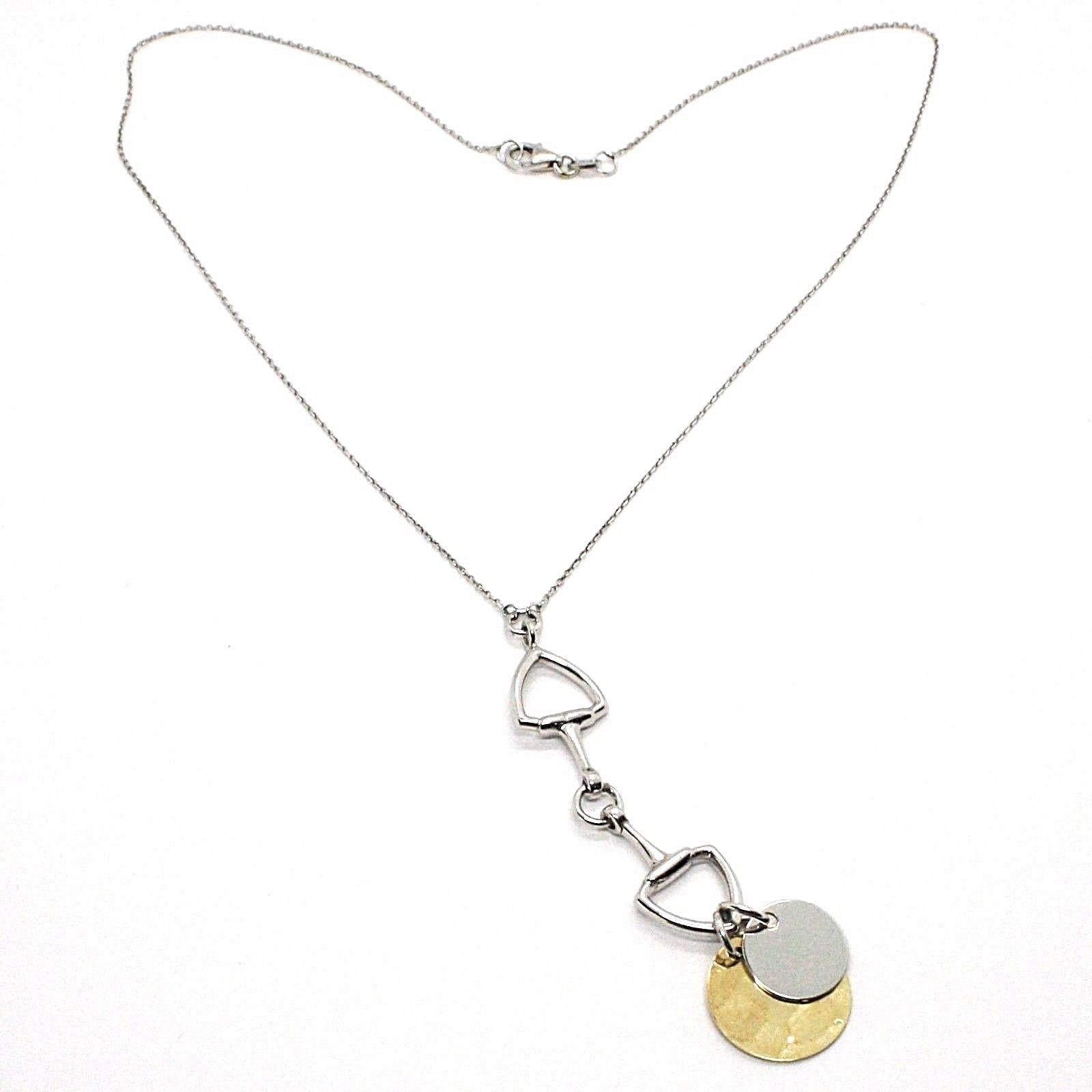 SILVER 925 NECKLACE, CHAIN OVAL, DOUBLE DISCO PENDANT, SHINY AND POUNDED