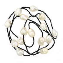 12mm Baroque Pearl & Black Spinel Necklace - $454.41